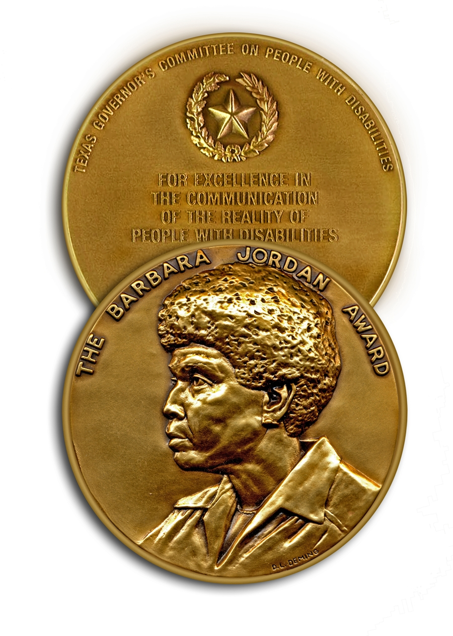 Gold award medallion with image of Barbara Jordan in profile