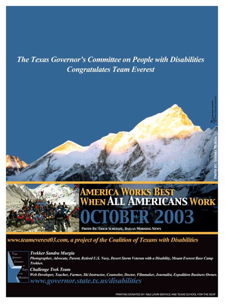 2003 NDEAM Poster Winner: Photograph of the Peak of Mount Everest taken by Sandra Murgia