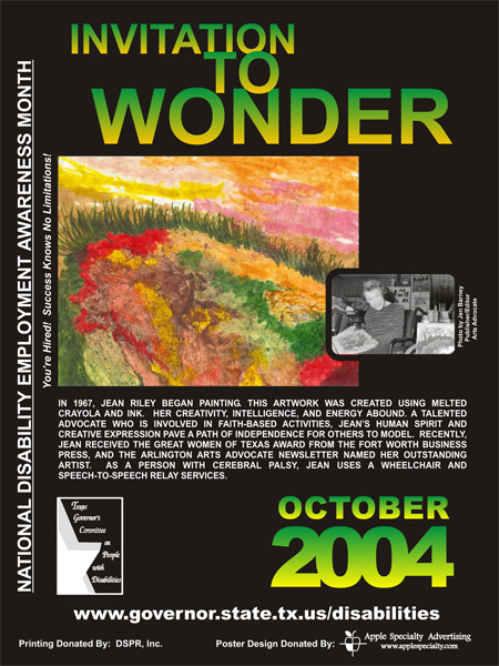 2004 NDEAM Poster Winner: 'Invitation to Wonder' by Jean Riley
