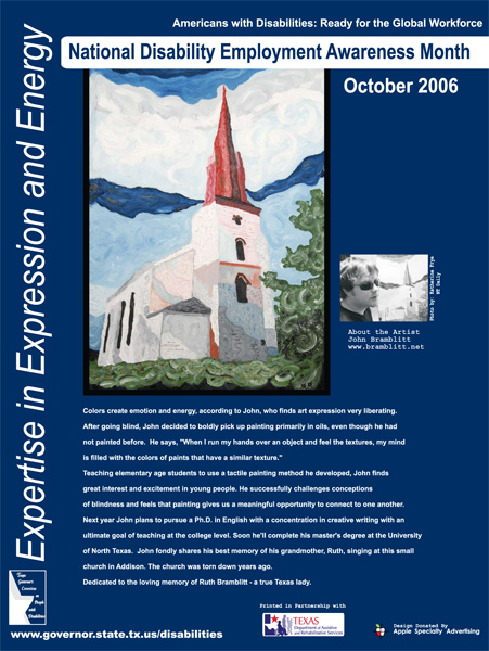 2006 NDEAM Poster Winner: 'Church' by John Bramblitt