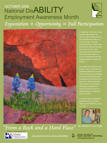 2009 NDEAM Poster Winner: 'From a Rock and a Hard Place' by Andrea D. La Vigne