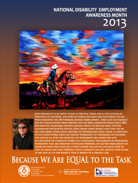 2013 NDEAM Poster - Cowboy Sunset by John Bramblitt