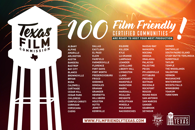 Listing of 100 Film Friendly Certified Communities