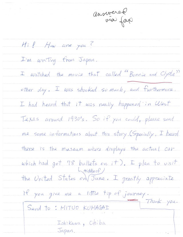 Japan_Letter_Bonnie_and_Clyde.jpg Image
