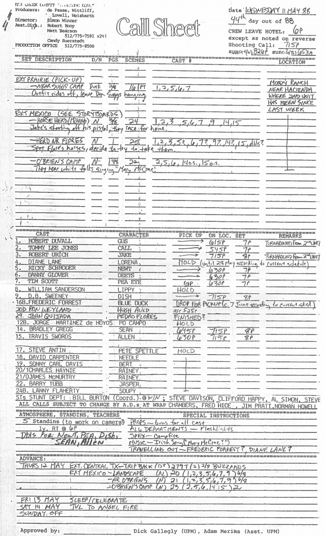 TFC50_Archive_1980s_Lonesome_Dove_Call_Sheet.jpg Image