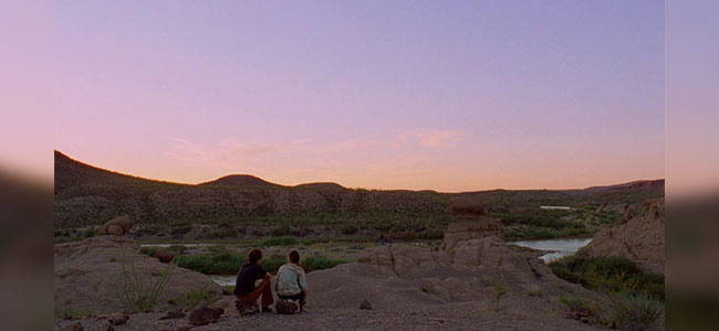 Movie still of Big Bend as the Sun sets