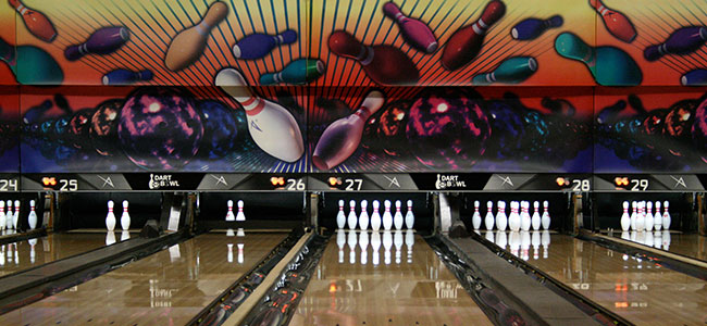 Interior Bowling Lanes at Dart Bowl