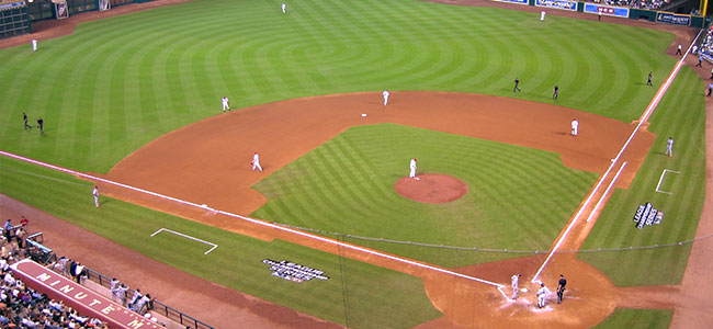 Interior image of Minute maid park field with players