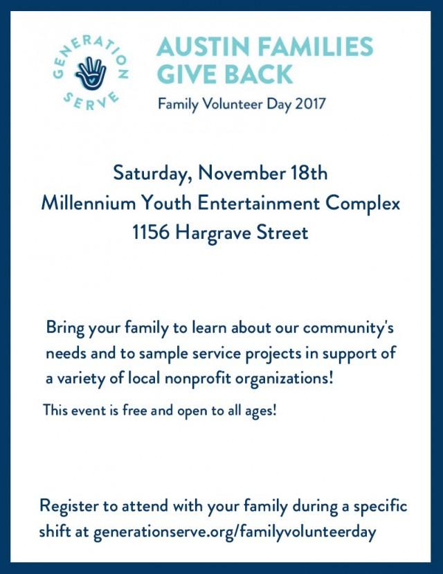 Generation SERVE Family Volunteer Day Flyer