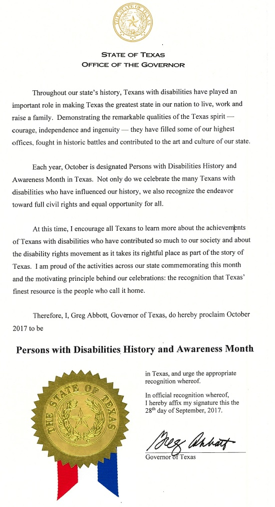 Persons with Disabilities History and Awareness Month proclamation