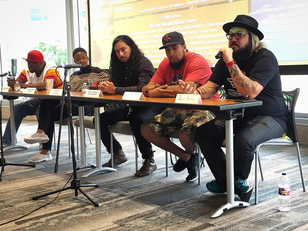 Blues and pop vocalist Naka (far right) talks about his experience as an artist and answers questions during his panel at UTSA's Music Biz Day.