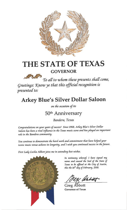 Arkey Blue's 50th anniversary proclamation