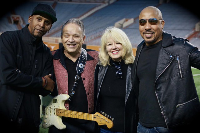 Marsha Milam with the Jimmie Vaughan Band at Memorial Stadium in Austin.
