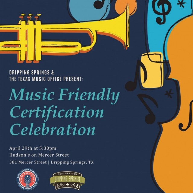 Governor Greg Abbott today announced that Dripping Springs, having completed the multi-step certification process, has been designated as a Music Friendly Community by the Texas Music Office (TMO). The Music Friendly Community program seeks to foster music business-related economic development in Texas cities and communities.