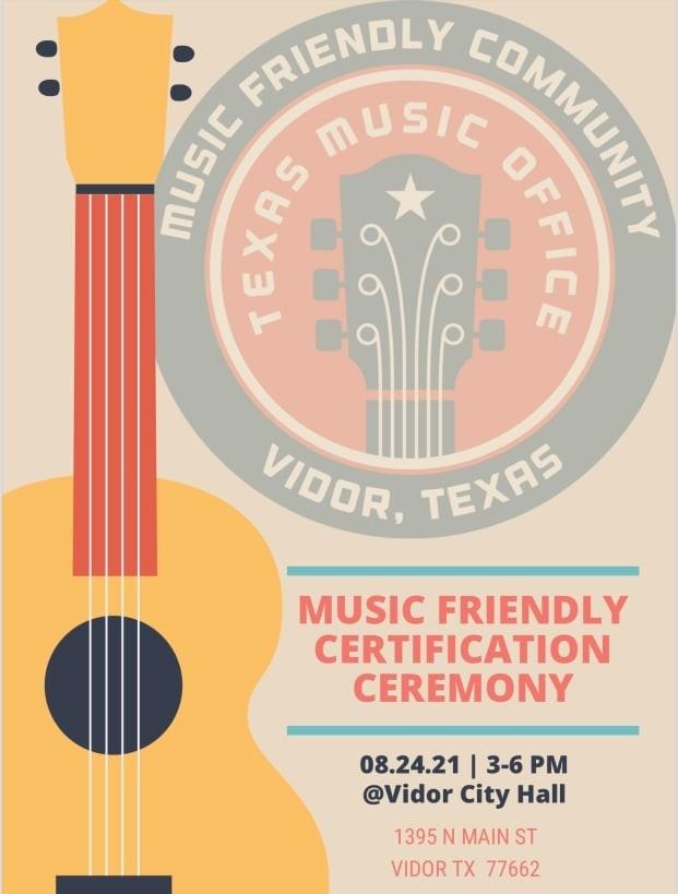Vidor Music Friendly Community celebration poster