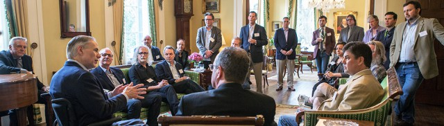 Gov. Abbott speaks to music industry executives during a reception at the Governor's Mansion during SXSW 2016.