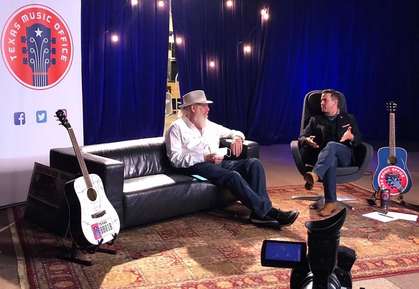 Brendon Anthony and Ray Benson taping Asleep at the Wheel 50th anniversary video for Americana Fest 2020