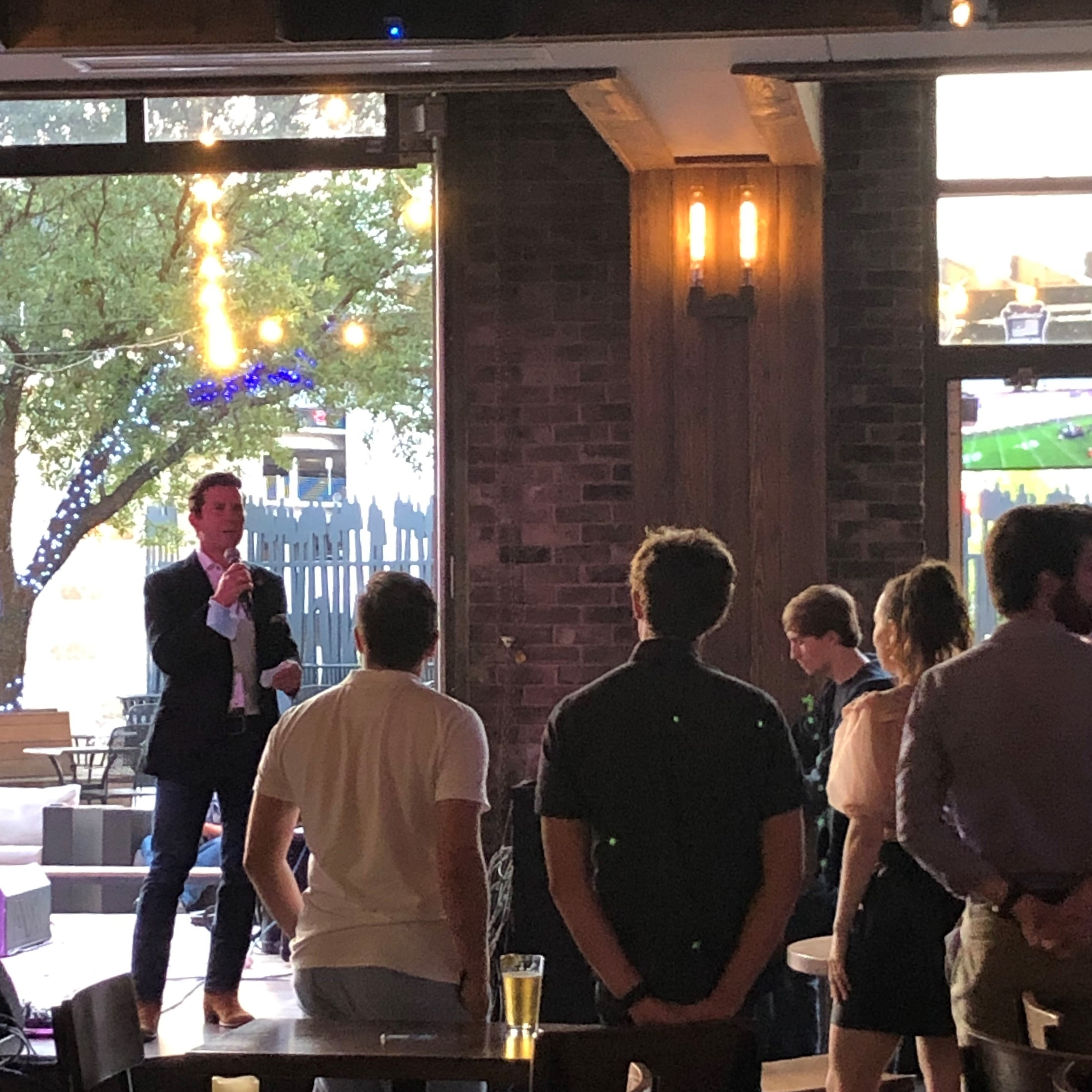 Brendon Anthony speaks at opening night of TEXAS SOUNDS & CITIES