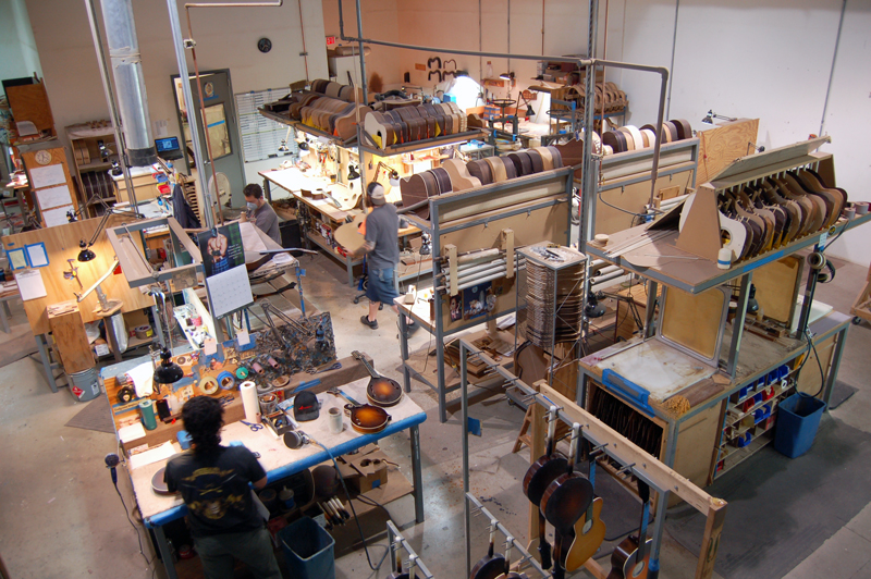 photo of the Collings Guitars factory floor.