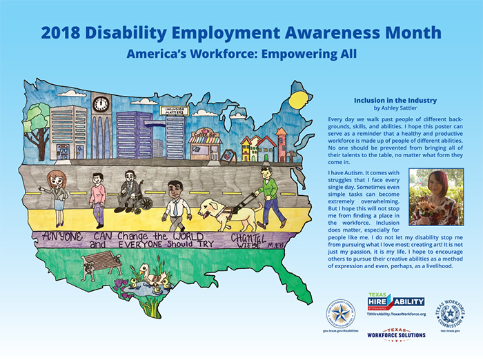 The Colored Pencil Drawing Is Featured Into Design Of Poster Ashleys Artwork Embodies National Theme For Disability Employment Awareness Month