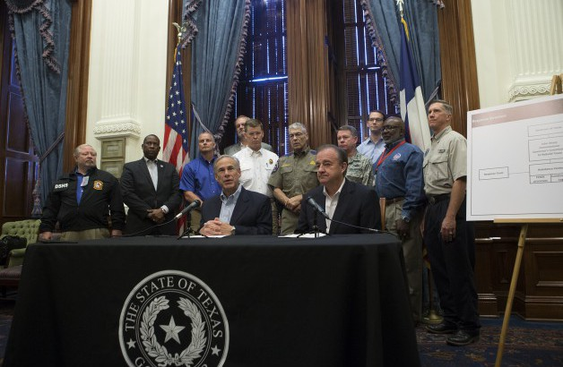 Governor Abbott, Chairman John Sharp, and State Agency heads announce the Governor's Commission to Rebuild Texas.