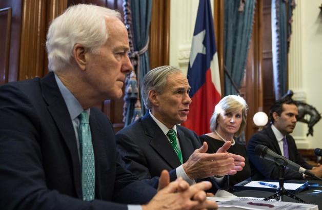 Senator John Cornyn, Governor Greg Abbott, HUD Deputy Secretary Pamela Hughes Patenaude and TX Land Commissioner George P. Bush at HUD grant provided for Hurricane Harvey.