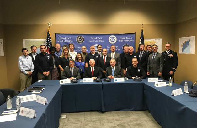 Vice President Pence and Governor Greg Abbott receive a briefing at the Federal Emergency Management Agency (FEMA) Joint Field Office in Austin, Texas regarding ongoing Hurricane Harvey recovery efforts.