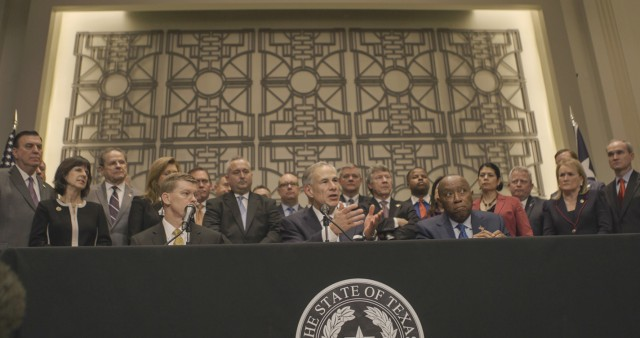 Governor Abbott meets with local officials to announce new hazard mitigation funding for Hurricane Harvey recovery.