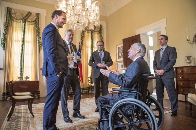 Governor Abbott Meets With His Royal Highness Crown Prince Haakon Of Norway