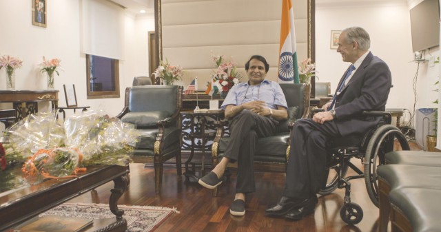 Gov. Greg Abbott meets with Minister of Commerce and Industry and Civil Aviation Suresh Prabhu to discuss economic development between Texas and India.