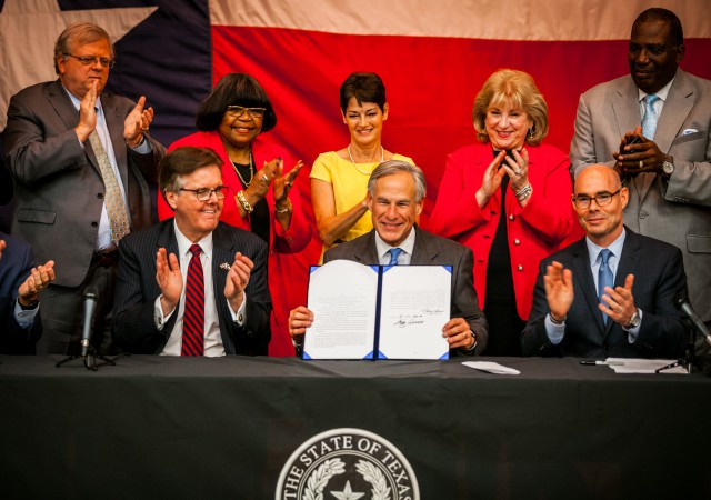 Governor Abbott signed into law landmark legislation to reform school finance, increase teacher pay, and provide property tax relief.