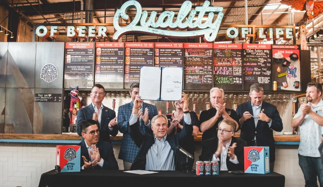 Gov. Abbott signed into law House Bill 1545 (Paddie, Birdwell), which allows beer-to-go sales for craft breweries in the state of Texas.