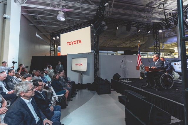 Governor Greg Abbott attends and delivers remarks at a Toyota economic development announcement in San Antonio.