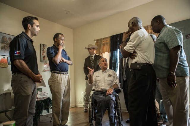 Governor Abbott Tours Housing Development Damage In Port Arthur, TX Image