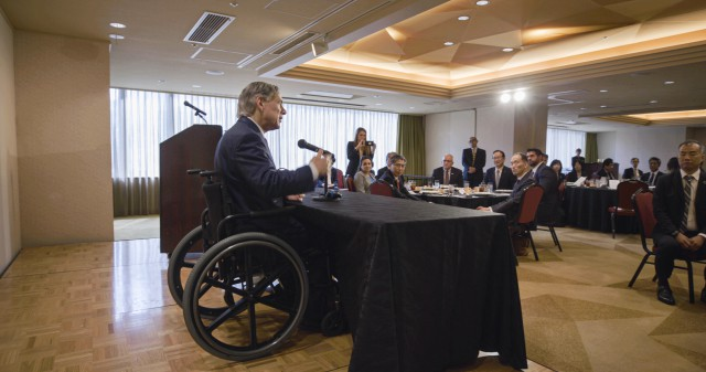 Governor Greg Abbott delivers remarks at a luncheon with leaders of the Japan External Trade Organization (JETRO) luncheon in Tokyo, Japan.