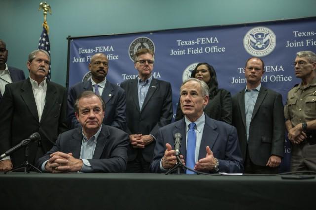 State legislators meet with Rebuild Texas Commissioner John Sharp and Governor Abbott to discuss Harvey.