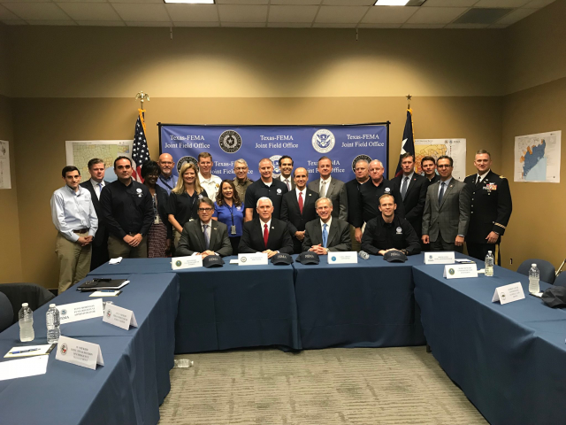 Governor Greg Abbott and Vice President Mike Pence today received a briefing at the Federal Emergency Management Agency (FEMA) Joint Field Office in Austin, Texas