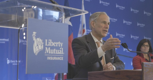 Governor Greg Abbott gives speech at opening of Liberty Mutual campus in Plano, Texas.