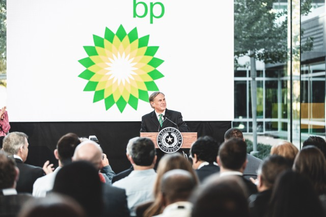 Governor Abbott Delivers Remarks At Grand Re-Opening Of BP Westlake Campus In Houston