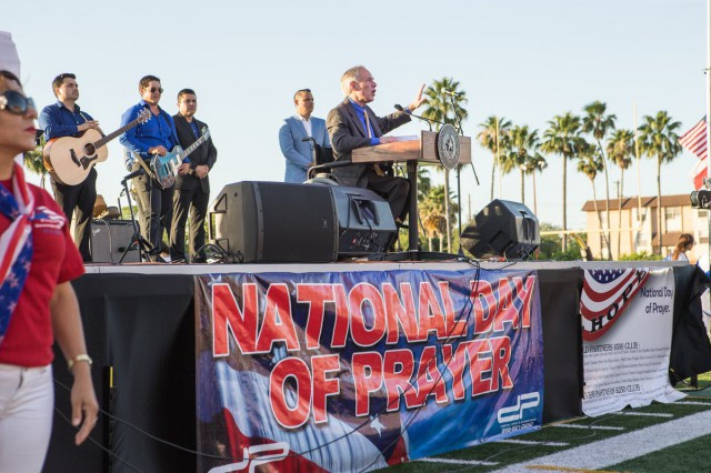 Governor Abbott delivers remarks and led attendees in prayer at National Day of Prayer observance in Brownsville, Texas.