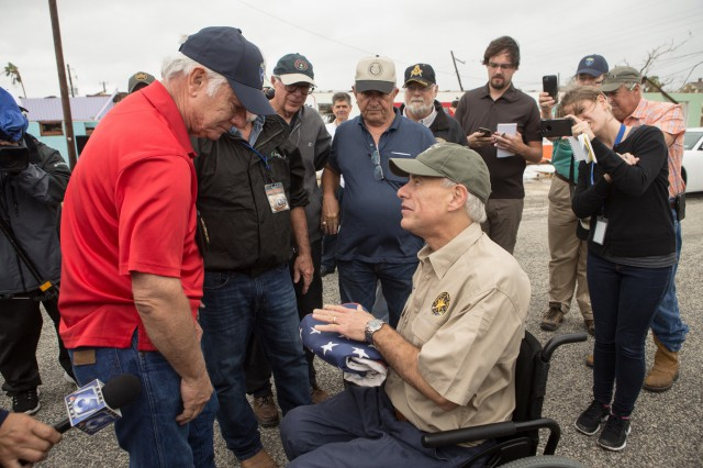 Governor Abbott visits with Coastal Bend community member after Hurricane Harvey.