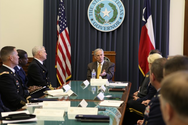 Governor Abbott meet with commanders of U.S. military installations in Texas prior to the Texas Military Summit hosted by the Texas Military Preparedness Commission (TMPC).