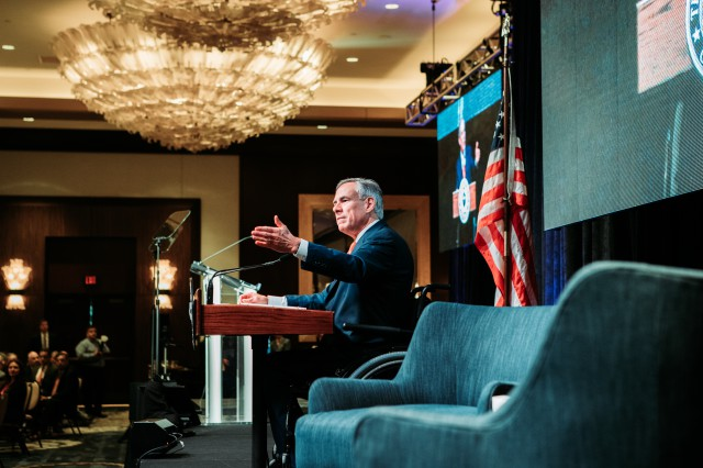Governor Abbott gives remarks at the Houston Hispanic Chamber of Commerce.