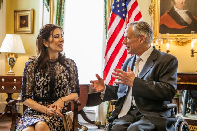 Governor Abbott and the Crown Princess of Denmark at the Texas Governor's Mansion.