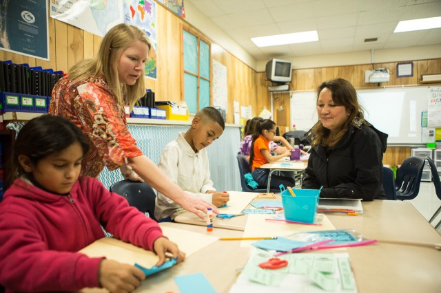 Texas First Lady Cecilia Abbott visits with Texas Gulf Coast students after Hurricane Harvey.