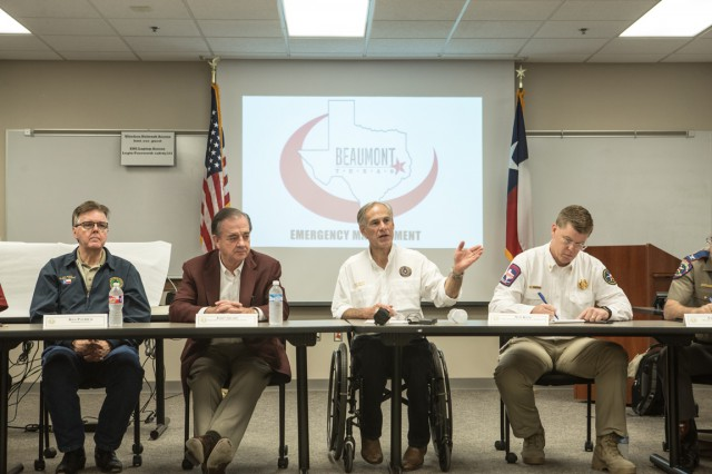 Commissioner John Sharp, Governor Greg Abbott and Chief of the Texas Division of Emergency Management Nim Kidd meat with Beaumont Emergency Management regarding Hurricane Harvey recovery.