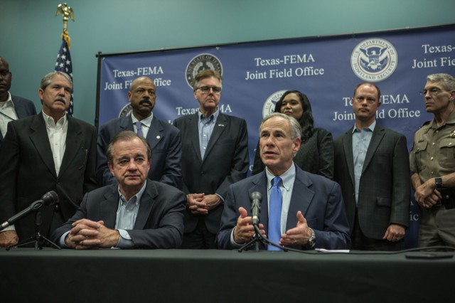 Governor Abbott and Commissioner Sharp meet with Texas legislatures to discuss Harvey recovery.