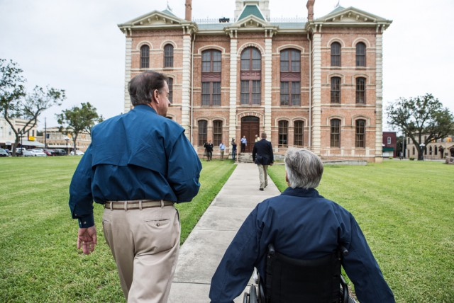 Commissioner John Sharp and Governor Greg Abbott visit Wharton County Court house to meet with local official regarding Hurricane Harvey recovery.