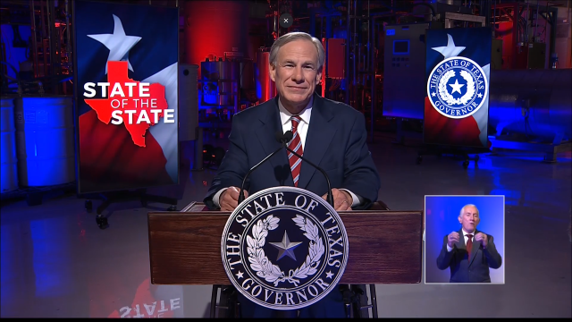 Governor Abbott At Podium During His State Of The State Address at Visionary Fiber Technologies
