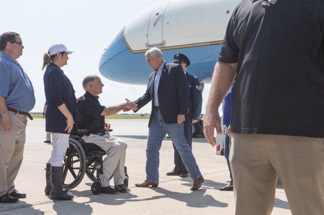 Governor Abbott and First Lady Cecilia Abbott greet Vice President Pence in Corpus Christi after Hurricane Harvey.